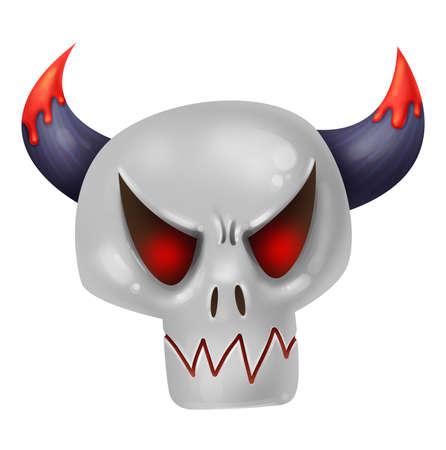 Evil skull. Dead. Skeleton. Magic and sorcery. Illustration for Halloween Raster drawing Zdjęcie Seryjne - 130643318