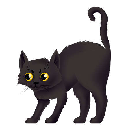 A frightened black cat. Witchs helper. Illustration for Halloween. Raster drawing.