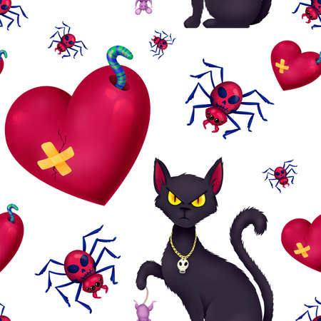 Seamless pattern for Halloween. A cat with a mouse, a broken heart, a spider with a skull. Pattern without background.