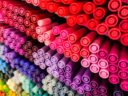 Colored pens. A lot of different colors. Many shades. Office supplies. Stock Photo