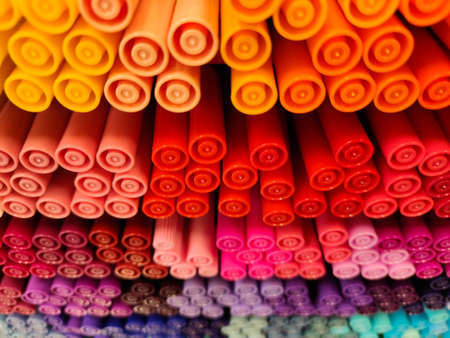 Colored pens. A lot of different colors. Many shades. Office supplies. Zdjęcie Seryjne - 130645375