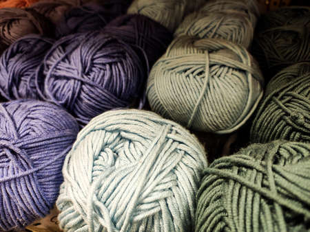 Multi-colored yarn. Different shades. Soft. Shopping for needlework. Zdjęcie Seryjne - 131577139