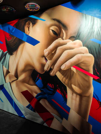 BERLIN, GERMANY - AUGUST 26, 2019. Urban nation Modern Art Street art Zdjęcie Seryjne - 131581162