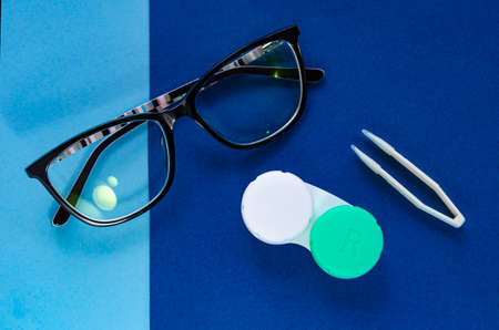 Contact lenses. Glasses. The choice. Poor vision, eye problems. Health and disease prevention concept.