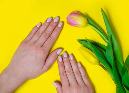 Female manicure on a bright background. Yellow
