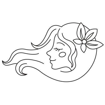 Girl logo. Beautiful hair with a flower. Illusztráció