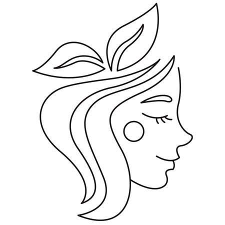 Girl logo. Ecology. Leaves. A smile on your face. Illusztráció