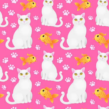 Seamless pattern with white cat and goldfish.