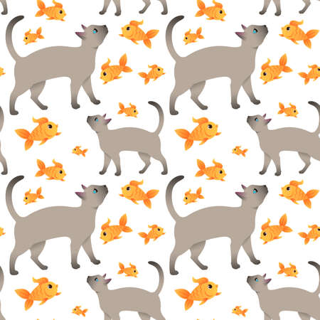Seamless pattern. Siamese cat asks for food.