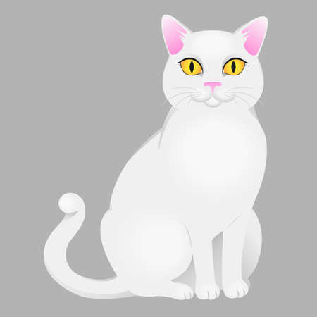 White cat with yellow eyes. Vector illustration