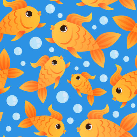 Seamless pattern. Goldfish and bubbles. On a