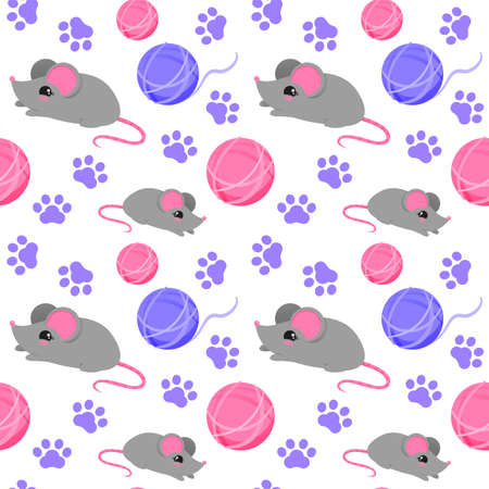 Seamless pattern with toys for cats. Toy