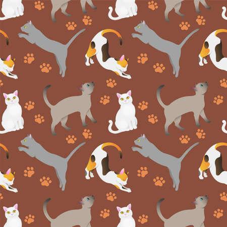 Seamless pattern with cat breeds. Brown bg Illusztráció