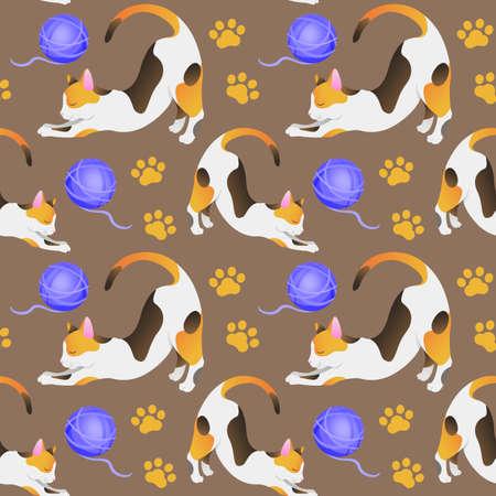 Seamless pattern with a tricolor cat. The Illusztráció