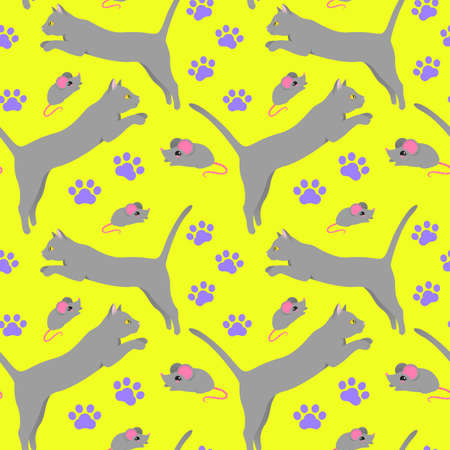 Seamless pattern with gray cats on a