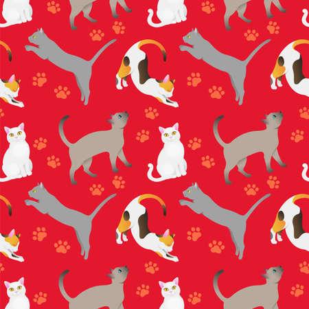 Seamless pattern with cat breeds. Red bg Illusztráció