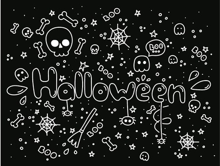 Big monochrome set of doodle funny Halloween elements, characters, with text , ghosts. Isolated objects. Hand drawn vector illustration. Line drawing. Design concept print. White on black. Illustration
