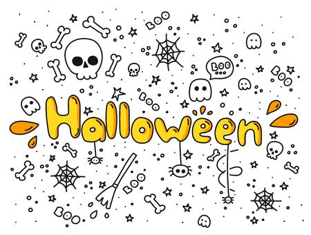 Big set of doodle funny Halloween elements, characters, with text , ghosts. Isolated objects. Hand drawn vector illustration. Line drawing. Design concept print Illustration