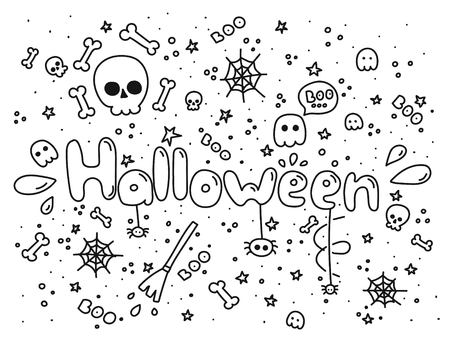 Big monochrome set of doodle funny Halloween elements, characters, with text , ghosts. Isolated objects. Hand drawn vector illustration. Line drawing. Design concept print