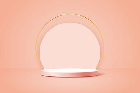 Abstract scene with geometric forms. Cylinder podium with gold ring on pink background. Product presentation, mock up, show cosmetic product, showcase. Vector 3d illustration. Vektorové ilustrace
