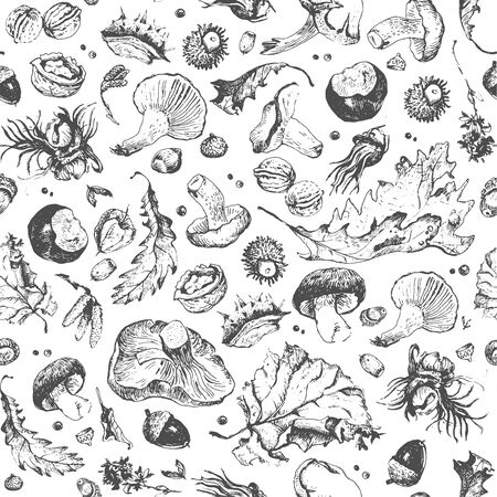 Hand drawn seamless pattern of dry leaves, mushrooms and nuts Çizim
