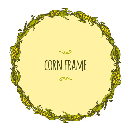 corny: Hand drawn vector frame of corncobs and leaves