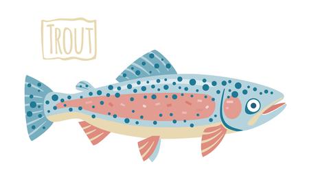trout: Trout, vector cartoon illustration