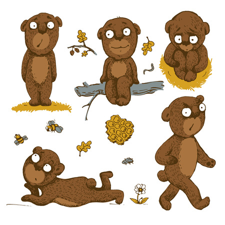 angry teddy: Set of hand drawn cute bears Illustration