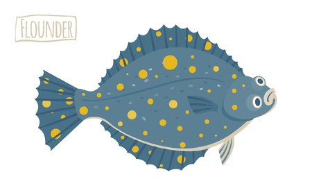 cartoon fishing: Flounder illustration, cartoon, flat