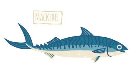 mackerel: Mackerel, vector cartoon illustration