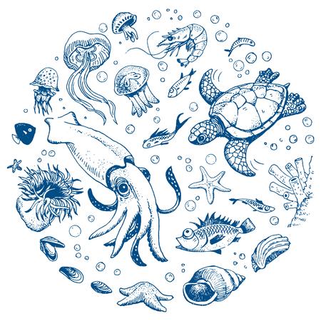 Sea life ręcznie rysowane zestaw