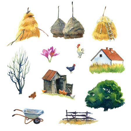 barn wood: Set of watercolour pictures about life in country
