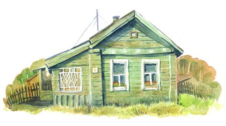 watercolour: Green wooden house, watercolour illustration Stock Photo