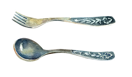 Vintage set of spoon and fork painted in watercolour