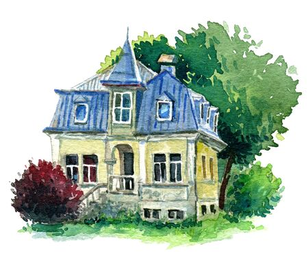 violet residential: watercolour sketch of a yellow house with tin roof Stock Photo