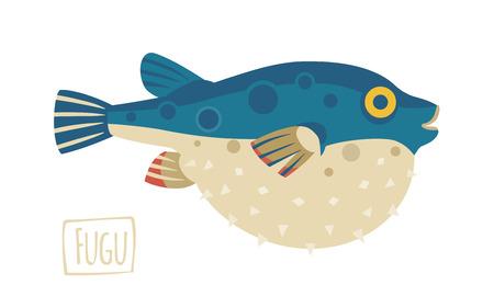 illustration of a Fugu (pufferfish), cartoon style Illustration