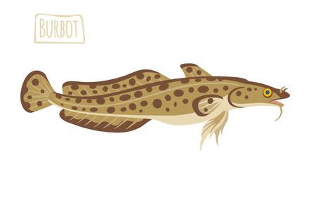 burbot: Lota, ilustración de dibujos animados Vectores