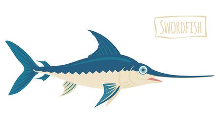 pez espada: El pez espada, la ilustración de dibujos animados