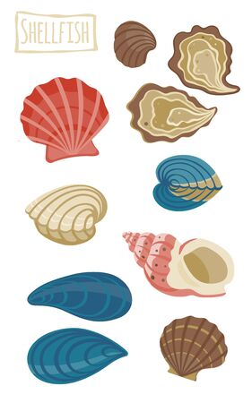 molluscs: Shellfish, icon cartoon illustration Illustration