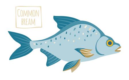 abramis: Common bream, cartoon illustration