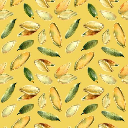 pumpkin seeds: Colorful seamless pattern of pumpkin seeds, hand painted with watercolors