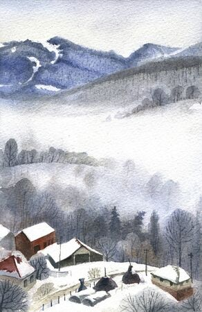 serbia xmas: Watercolor landscape with small mountain village