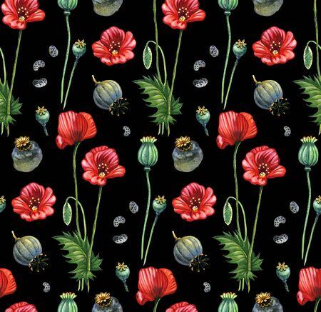 opium: Poppy handpainted seamless pattern