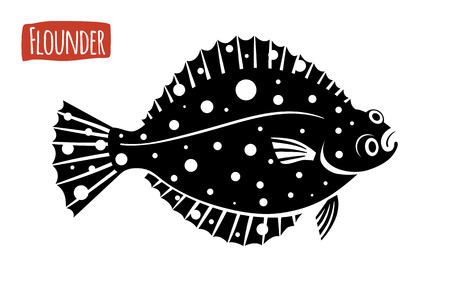 Flounder, vector illustration, cartoon style Illustration
