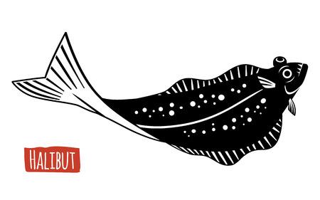 forage fish: Halibut, vector illustration, cartoon style