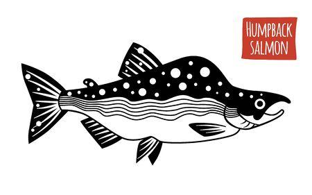 humpback: Humpback Salmon, vector illustration, cartoon style
