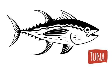 thunnus: Tuna, vector illustration, cartoon style