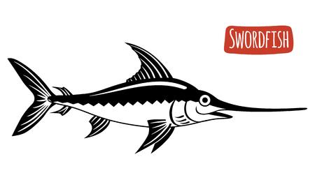 pez espada: El pez espada, ilustración vectorial, estilo de dibujos animados
