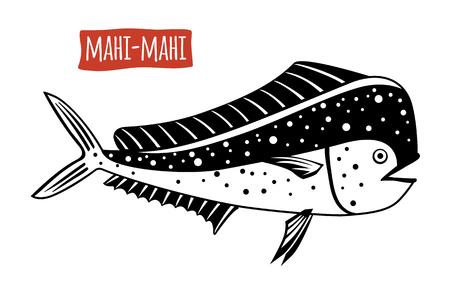 dorado: Mahi-mahi, vector illustration, cartoon style