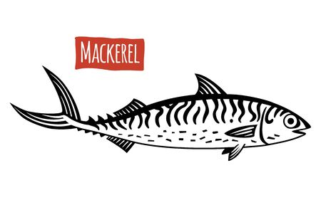 Mackerel, vector illustration, cartoon style